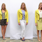 Yellow blazer worn three ways by Stylist Alison Deyette