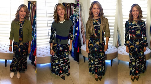 how-to-style-a-print-dress-4-ways